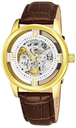 Stuhrling Original Men Dress Skeletonized Automatic Watch, Gold Tone Case on Brown Alligator Embossed Genuine Leather Strap, Silver Tone Skeletonized Dial With Gold Tone Accents