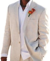 MYS Men's Custom Made Flax Feel 2 Button Notch Lapel Suit Pants Set Beige Size 42R