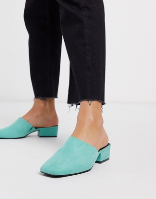 ASOS DESIGN Madison high vamp heeled mules in aqua