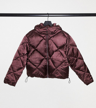 ASOS DESIGN Petite satin quilted oversized puffer jacket in burgundy