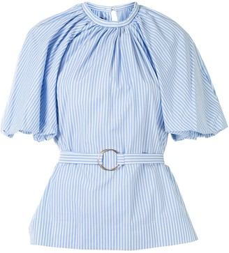 Eudon Choi Puff-Sleeved Pinstriped Blouse