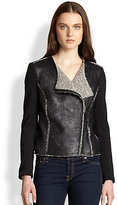 Riley Knit-Sleeved Coated Shearling-Effect Jacket