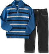 Calvin Klein Baby Boys' 2-Pc. Striped Sweater & Jeans Set