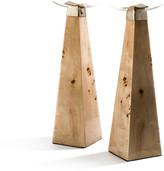 N. Burl Veneer Candleholders, Set of 2