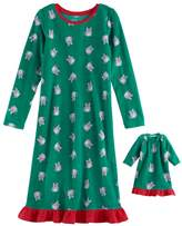 Jammies For Your Families Girls 4-16 Jammies For Your Families Holiday Cat Microfleece Nightgown & Doll Gown Pajama Set