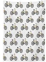 vipsung Bicycle Decor Tablecloth Hand Drawn Doodle Cycling Theme Pattern of Yellow Bike Leisure Hobby Street Art Print Dining Room Kitchen Rectangular Table Cover