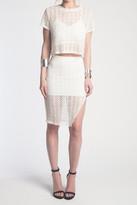 Donna Mizani Orbit Midi Slit Skirt In Ivory