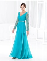Terani Couture M3808 Ruched V Neck Long Sleeves Long Dress