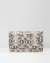 Asos Double Flap Slim Snake Clutch Bag