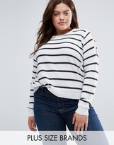 Brave Soul Plus Striped Sweater With Cold Shoulder