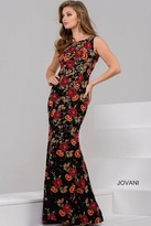 Jovani Beautiful Evening Gown in Colorful Floral Embroidery 50144