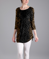 Lily Black & Gold Scroll Heart Scoop Neck Tunic - Plus Too