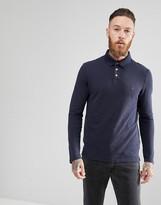 Jack Wills Staplecross Long Sleeve Slub Polo Shirt In Navy