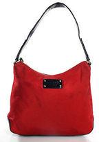 Kate Spade Red Nylon Navy Blue PVC Gold Tone Shoulder Handbag