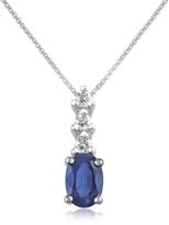 Tagliamonte Incanto Royale Diamond and Sapphire Drop 18K Gold Pendant Necklace