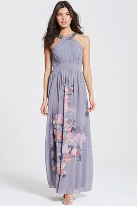Little Mistress Grey Floral Print Chiffon Maxi Dress
