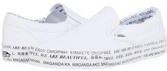 Vans X We are Beautiful Collection ((We Are Beautiful Classic Slip-On) White/True White) Athletic Shoes