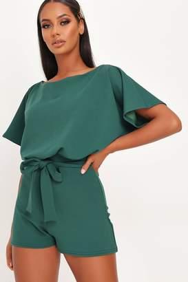 I SAW IT FIRST Emerald Green Tie Waist Boxy Sleeve Playsuit