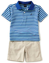 Nautica Little Boys 2T-7 Striped Short-Sleeve Polo Shirt & Solid Shorts Set