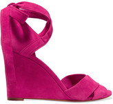 Aquazzura Tarmid Suede Wedge Sandals - Fuchsia