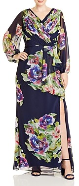 Adrianna Papell Plus Ruched Floral-Print Gown