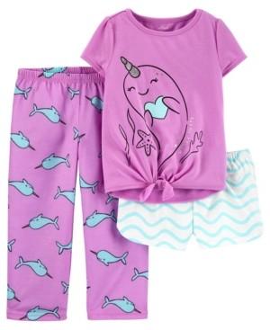Carter's Toddler Girls 3 Piece Narwhal Loose Fit Pajama Set