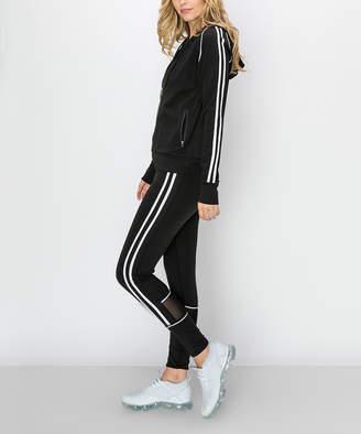 Kimberly C Women's Leggings Black - Black & White Double-Stripe Active Zip-Up Hoodie & Leggings - Women