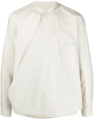 Lemaire Collarless Wrap-Front Shirt