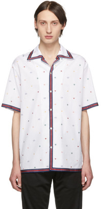Gucci White Fil Coupe Multi Symbol Bowling Shirt