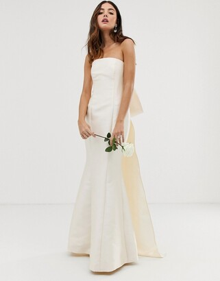 Asos Edition EDITION bow back bandeau wedding dress-White
