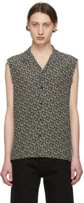 Saint Laurent Black and Off-White Silk Piranha Sleeveless Shirt