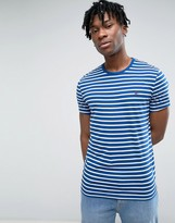 Jack Wills Sandleford Stripe T-Shirt Pheasant Logo In Cobalt Blue