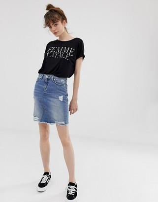 Blend She Pearce distressed denim skirt
