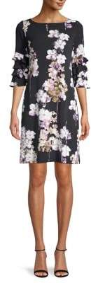 Gabby Skye Floral Ruffle-Sleeve Shift Dress