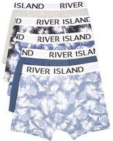River Island Blue Leaf Print Trunks Pack