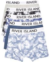 River Island MensBlue leaf print trunks multipack