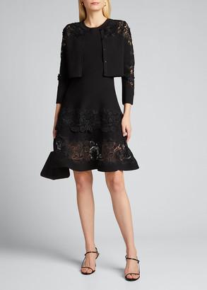 Carolina Herrera Sleeveless Guipure Lace Fit-&-Flare Dress