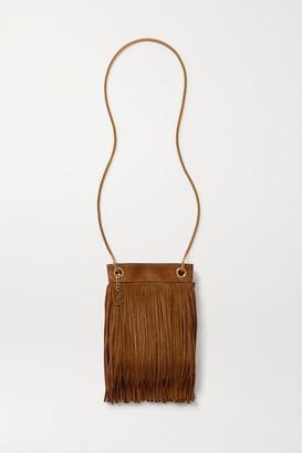 Saint Laurent Grace Small Leather-trimmed Fringed Suede Shoulder Bag - Tan