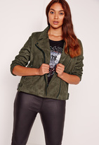 Missguided Plus Size Bonded Faux Suede Biker Jacket Khaki
