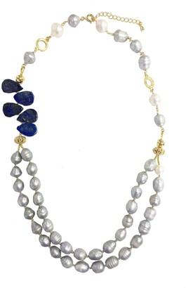 Lapis Farra Double Strand Natural Freshwater Pearls With Lazuli Necklace