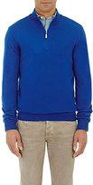 Barneys New York MEN'S HALF-ZIP SWEATER-BLUE SIZE S