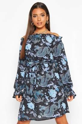 boohoo Bardot Tie Waist Dress With Bell Sleeves