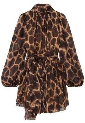 Dolce & Gabbana Tie-neck Printed Silk-blend Chiffon Mini Dress