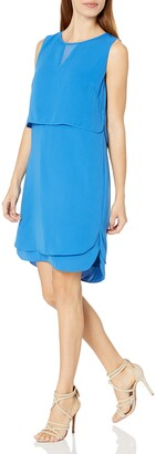 Tribal Women's Sorrento Silky Solid Double Layer Dress