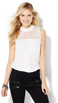 New York & Co. Lace-Panel Mock-Neck Shell