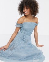 Anaya With Love tulle ruffle off shoulder tulle midaxi dress in blue