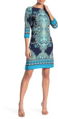 London Times Patterned 3/4 Sleeve Jersey Shift Dress (Petite)