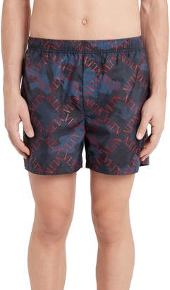 Valentino Diamond Logo Camo Swim Trunks