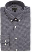 Neiman Marcus Extra-Trim Regular-Finish Dot Dress Shirt, Gray