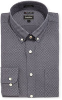 Neiman Marcus X-Trim Regular-Finish Dot Dress Shirt, Gray